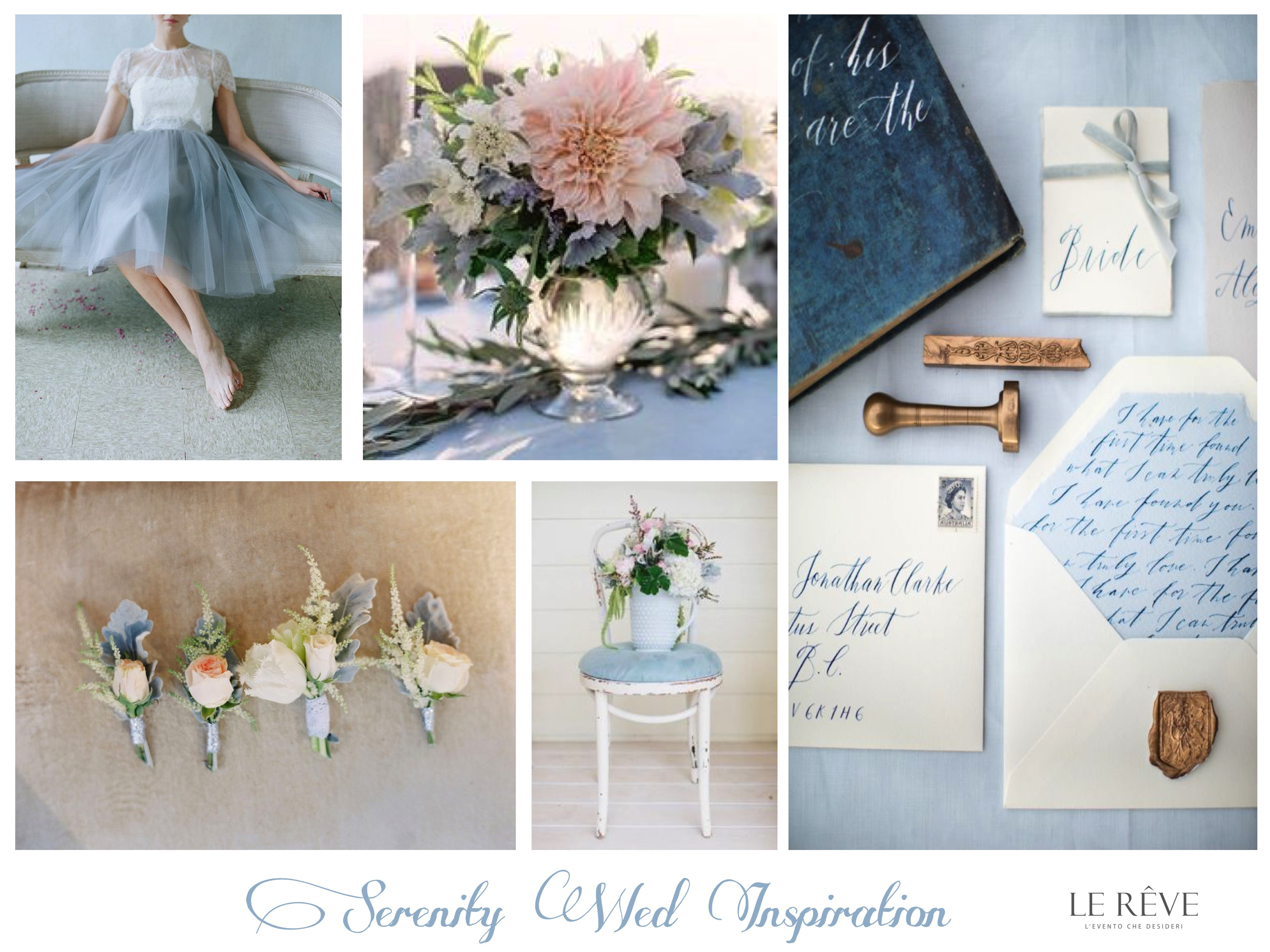wedding inspiration board pantone trend 2016 Serenity